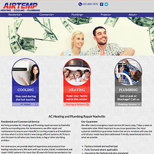 Air Temp Heating and Cooling Web Design